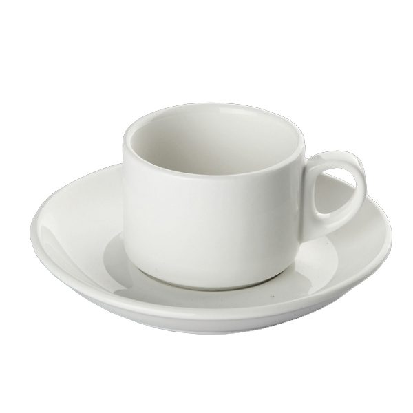 White porcelain cup & saucer catering talbleware