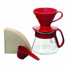Hario V60 01 Ceramic Red Dripper and Pot